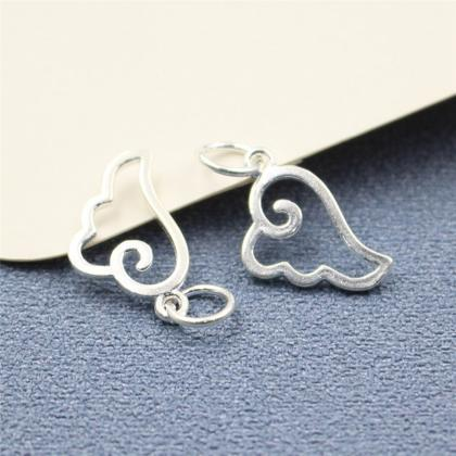2pcs Sterling Silver Angel Wing Cha..