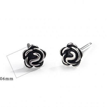 Silver Flower Ear Studs, Post Earri..