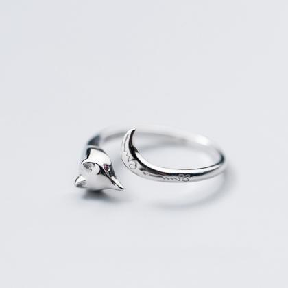 Sterling Silver Adjustable Fox Ring..