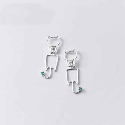 Sterling silver cat umbrella ear po..