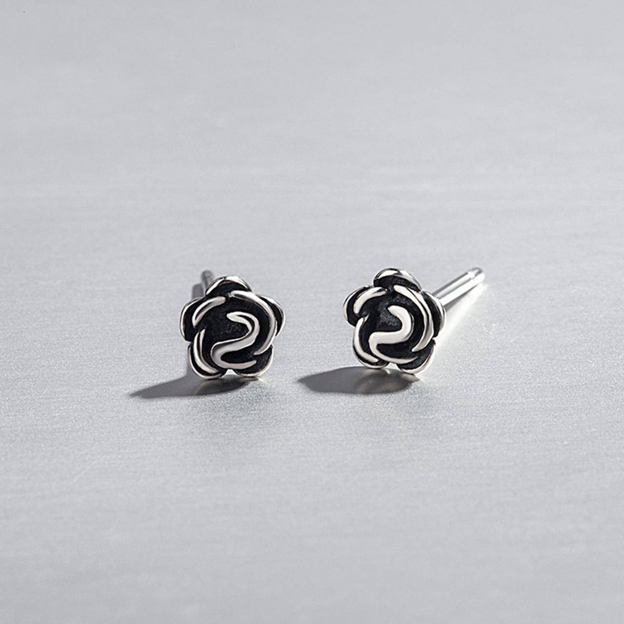 Silver Flower Ear Studs, Post Earrings, Women Earrings, Gift for Her