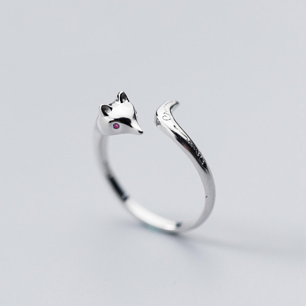 Sterling Silver Adjustable Fox Ring, Minimalist Rings, Dainty Ring, Women Ring, Everyday Jewelry