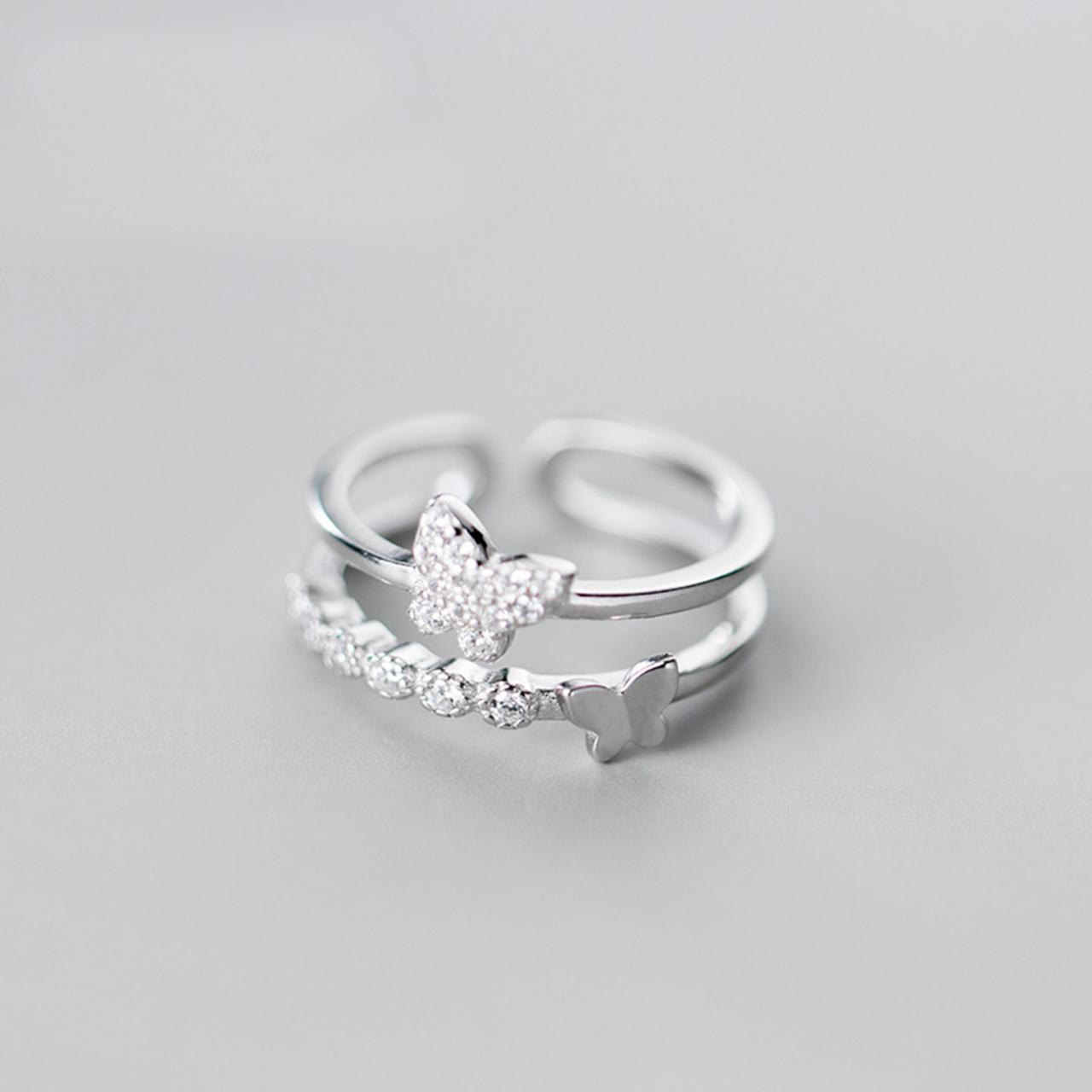 CZ Pave Butterfly, Sterling Silver Adjustable Butterfly Ring, Minimalist Rings, Dainty Ring, Women Ring, Everyday Jewelry