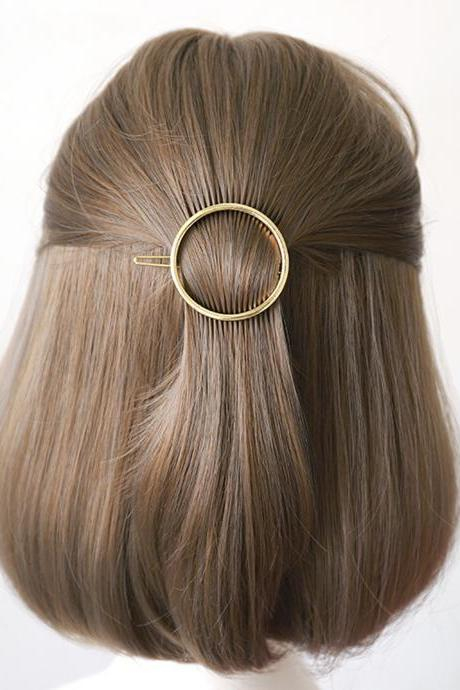 Gold Plated Round Hair Clip, Minimalist Hair Accessories, Geometric Hair Clip, Minimal French Barrette, Metal Alloy Hair Clip, Hair Barrette