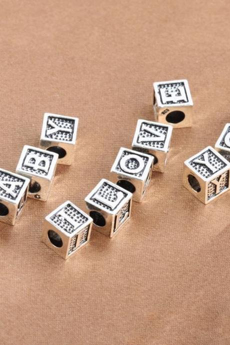 S925 Sterling Silver Alphabet Spacer Beads, A~Z Silver Alphabet Necklace Beads, Cube Letter Beads, Alphabet Bracelet Beads, Lager Hole Beads