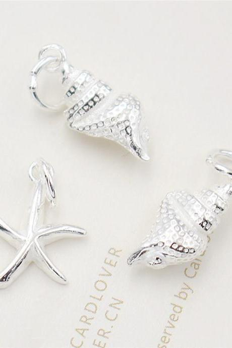Sterling Silver Starfish Charms, 925 Silver Starfish Charms, Bracelet Charm, Necklace Charm, Ocean Charms, Sea Charms, Shell Charms