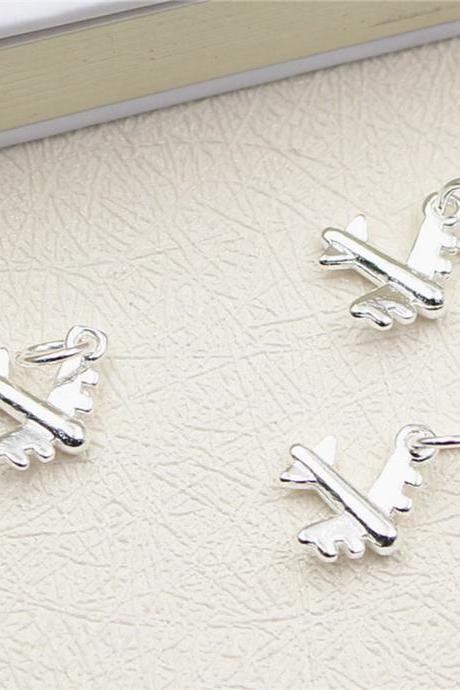 Sterling Silver Airplane Charm, Silver Aircraft Charm, Necklace Charm, Bracelet Charm, Earring Charm, Travel Charm, Tiny Charm, Sky Charm