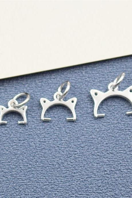 10pcs Large Sterling Silver Cat Head Necklace Pinch Bails for Pearl, 925 Silver Pendant Pinch Bail, Charm Pinch Bail, Cat Head Connector Pendant Bails