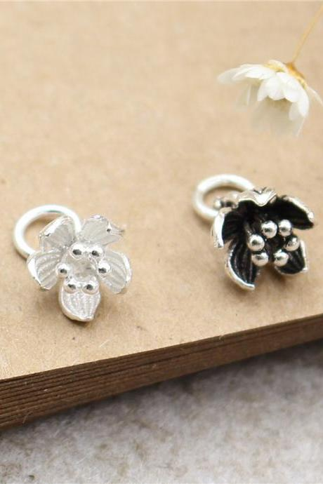 2pcs Sterling Silver Flower Charms, 925 Silver Flower Charm, Necklace Charm, Bracelet Charm, Earring Charms, Tiny Charms, Flower Charms Pendant