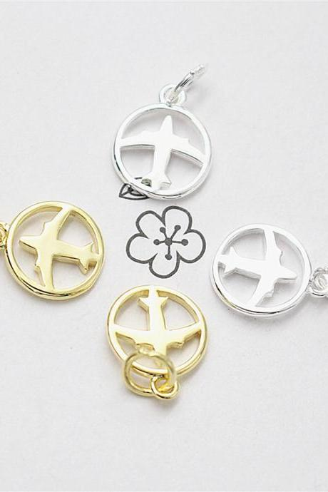 2pcs Sterling Silver Airplane Circle Charm, Silver Aircraft Charm, Necklace Charm, Bracelet Charm,Earring Charm,Travel Charm,Tiny Charm,Sky Charm