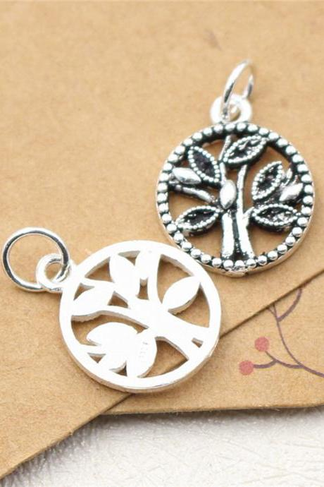 Sterling Silver Life Tree Charms, 925 Silver Tree of Life Charms, Tree Round Disc Charm,Hollow Out Tree Charms,Necklace Charm,Bracelet Charm