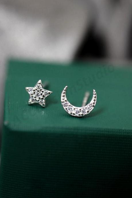 Sterling silver moon and star ear post, moon and star earrings stud, sky earring post