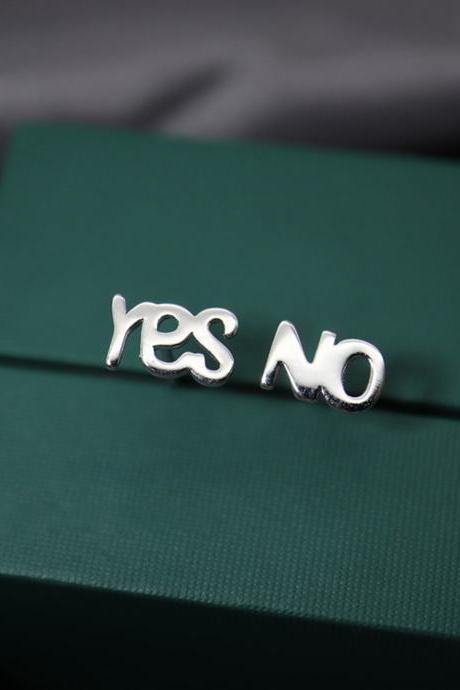 Sterling silver yes and no ear post, letter earrings stud, everyday ear stud