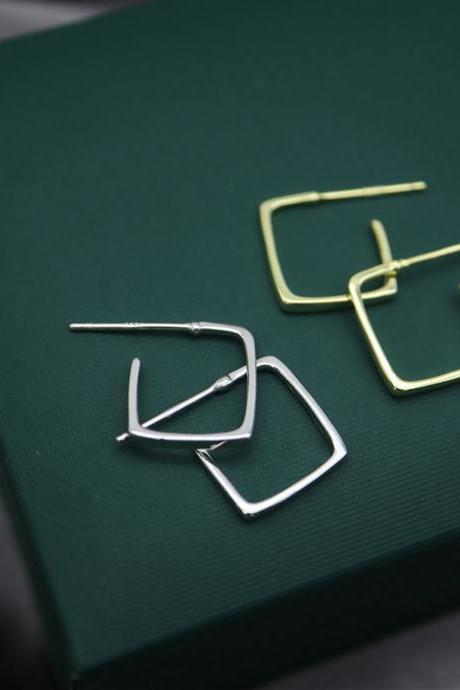 S925 Sterling Silver Geometric Ear Studs, Geometric Earrings, Geometric Ear Studs, Geometric Earring Posts, Geometric Square Ear Stud