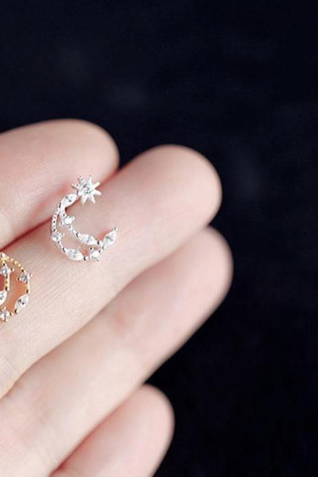 Sterling silver cz pave moon and star ear post, moon and star earrings stud, sky earring post, zircon ear stud