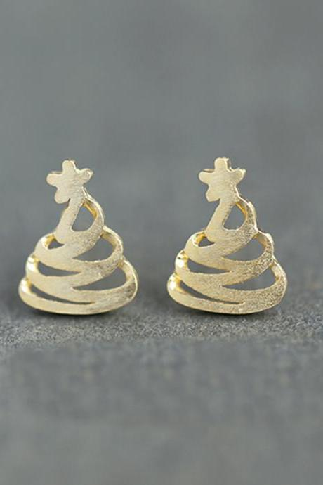 S925 Sterling Silver Christmas Tree Ear Studs, Christmas Tree Earrings, Filigree Ear Studs, Christmas Tree Earring Posts, Christmas Tree Ear Stud