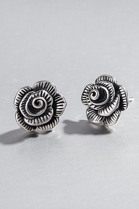 S925 Sterling Silver Rose Flower Ear Studs, Flower Earrings, Flower Ear Studs, Earring Posts, Ear Stud, Flower Jwewlry
