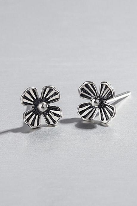 S925 Sterling Silver Vintage Flower Ear Studs, Flower Earrings, Flower Ear Studs, Earring Posts, Floral Ear Stud
