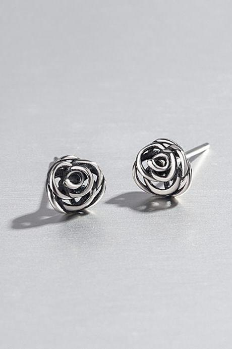 Sterling Silver Tiny Flower Ear Stud, Women Ear Post, Everyday Earring Jewelry