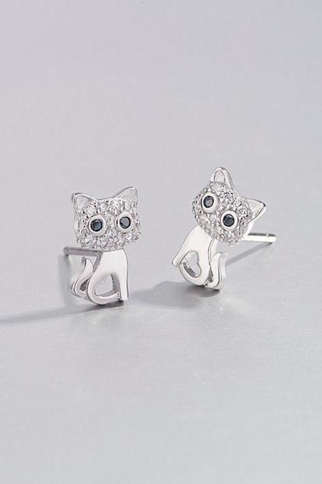 S925 Silver Cat Ear Studs, Animals Post Earrings, Women Cat Earrings, Everyday Cat Earrings, Cat Ear Post