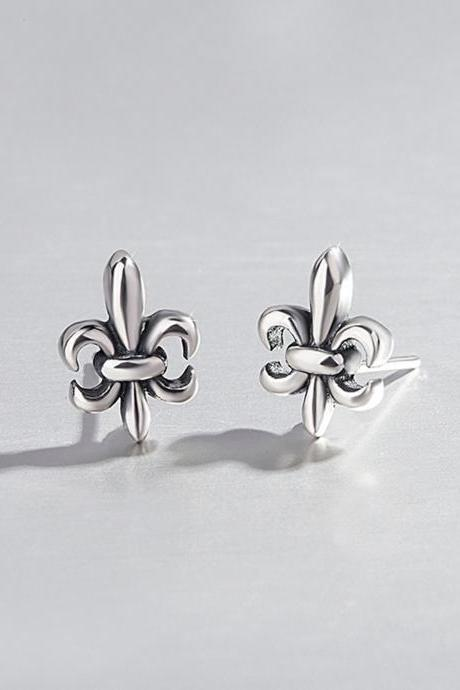 S925 Silver Flower Cross Ear Studs, Cross Post Earrings, Women Cross Earrings, Everyday Earrings, Vintage Cross Ear Post