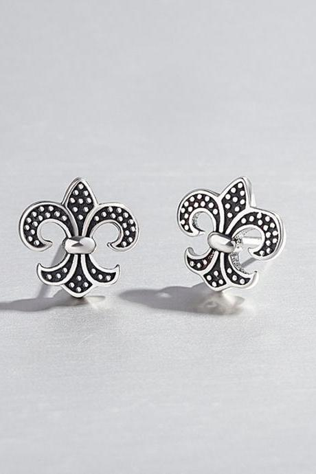 S925 Silver Cross Ear Studs, Cross Post Earrings, Women Cross Earrings, Everyday Earrings, Vintage Cross Ear Post