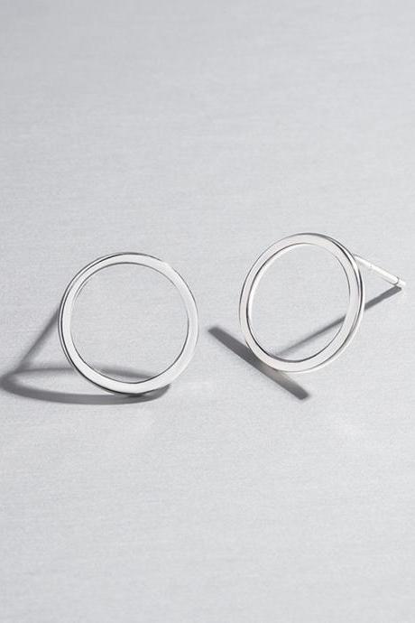 S925 silver round circle earrings, hollow round ear stud, geometric ear post, polished ear stud