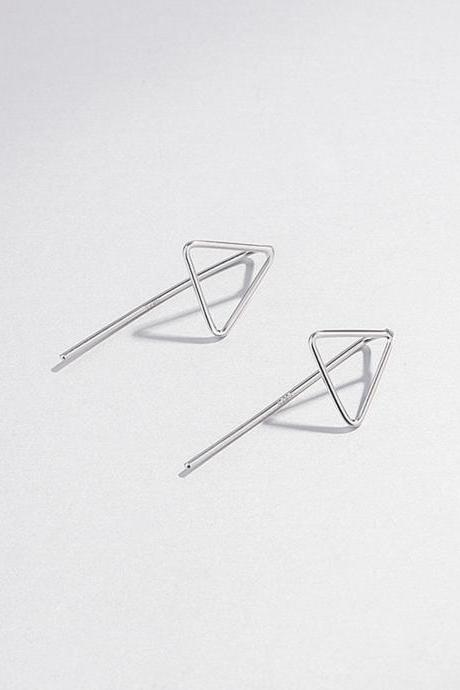 Sterling silver filigree triangle ear post, earrings stud, geometric earring post, ear stud, triangle earrings