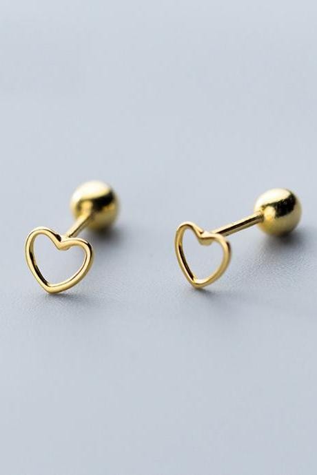 S925 Sterling Silver Hollow Heart Ear Stud With Ball end, Heart earrings, Heart Ear Post, Heart Ear Stud