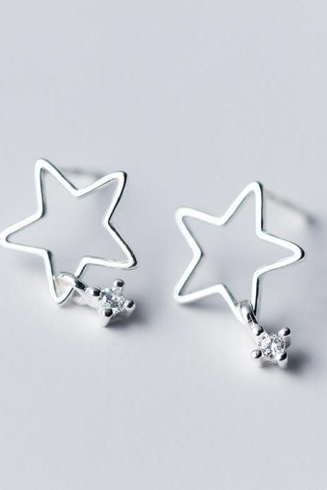 S925 Sterling Silver Hollow Star Ear Stud, Star earrings, Star Ear Post, Star Ear Stud, Star Ear Stud