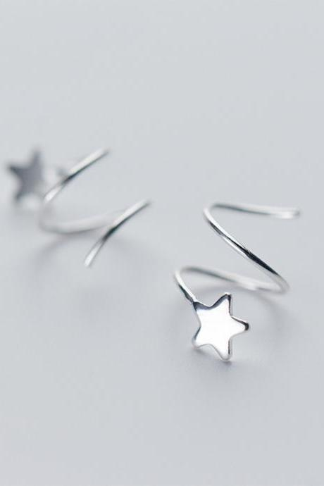 Sterling Silver Star Spiral Ear Studs, Star Spiral Post Earrings, Women Star Earrings, Everyday Earrings, Ear Post, Wave Earrings