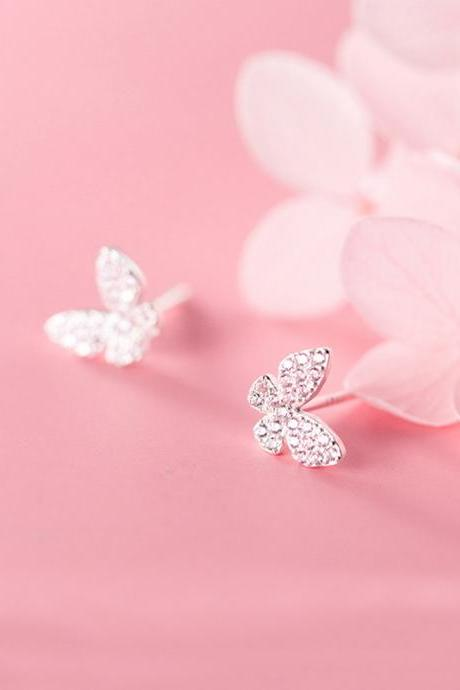 Sliver CZ Pave Butterfly Ear Studs, Sterling Silver Animals Post Earrings, Women Earrings, Everyday Earrings, Butterfly Ear Post, Butterfly Earrings