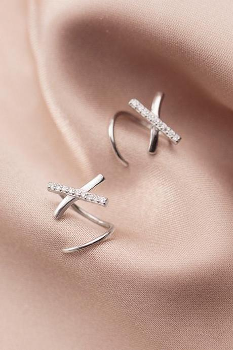 Sterling Silver CZ Pave Cross Spiral Ear Studs, CZ Pave Spiral Post Earrings, Women Earrings, Everyday Earrings, Cross Ear Post, Wave Earrings