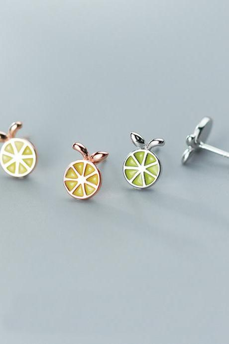 Sliver Lemon Ear Studs, Sterling Silver Lemon Post Earrings, Women Earrings, Everyday Earrings, Lemon Ear Post, Fruit Earrings
