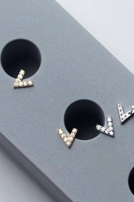 Sterling silver letter V ear post, cz pave V shape earrings stud, V shape earring post, V shape ear stud, V shape earrings