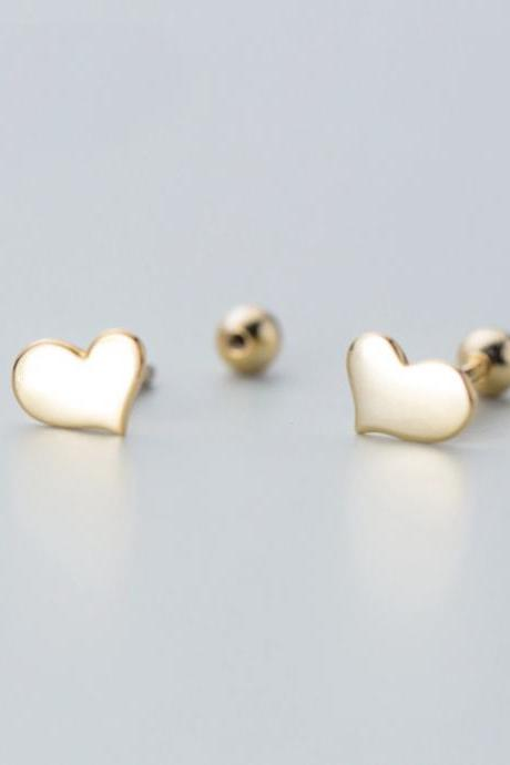 Sterling Silver Glossy Heart Ear Studs, Heart Post Earrings, Women Heart Earrings, Everyday Heart Earrings, Heart Ear Post