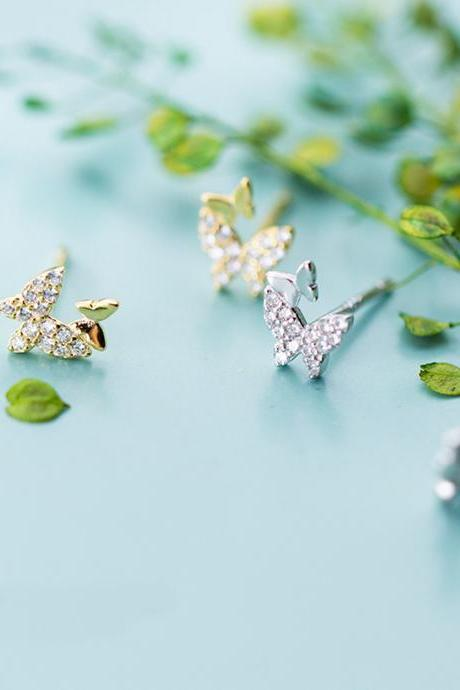 Sliver CZ Pave Butterfly Ear Studs, Sterling Silver Animals Post Earrings, Women Earrings, Everyday Earrings, Butterfly Ear Post, Double Butterfly Earrings