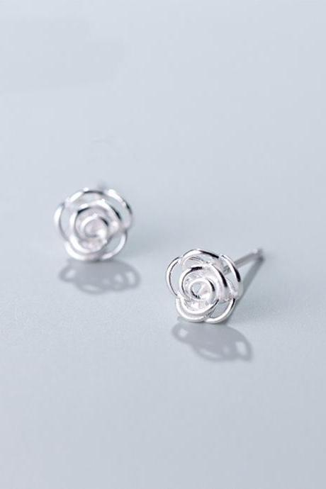S925 Sterling Silver Hollow Flower Ear Studs, Post Earrings, Women Earrings, Everyday Earrings, Ear Post, Floral Earrings