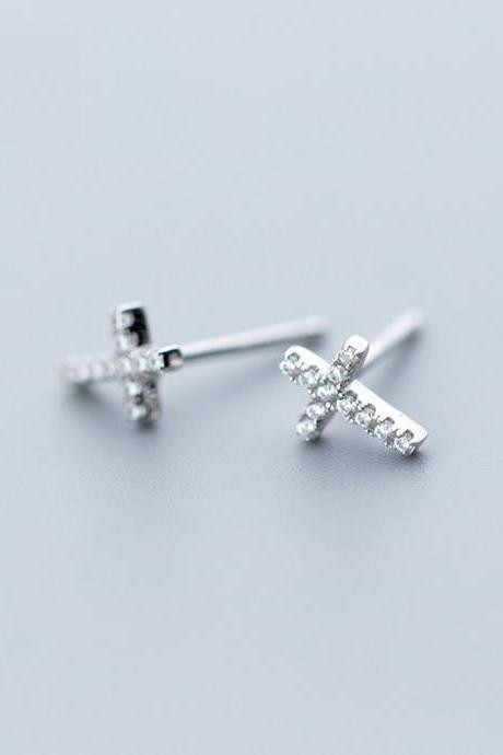S925 Sterling Silver CZ Pave Cross Ear Studs, Cross Post Earrings, Women Earrings, Everyday Earrings, Ear Post, Cross Earrings