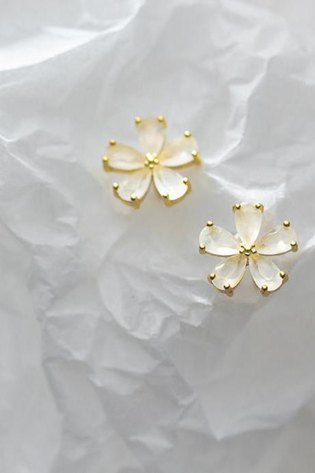 S925 Sterling Silver Flower Ear Studs, Post Earrings, Women Earrings, Everyday Earrings, Ear Post, Floral Earrings