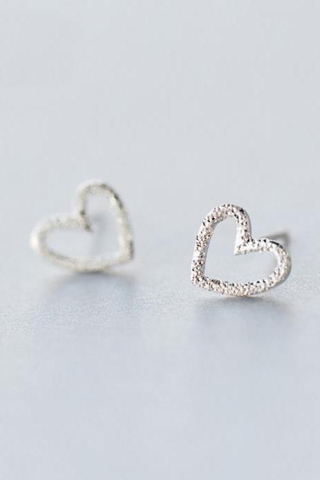 Sterling Silver Matte Hollow Heart Ear Studs, Heart Post Earrings, Women Heart Earrings, Everyday Heart Earrings, Heart Ear Post