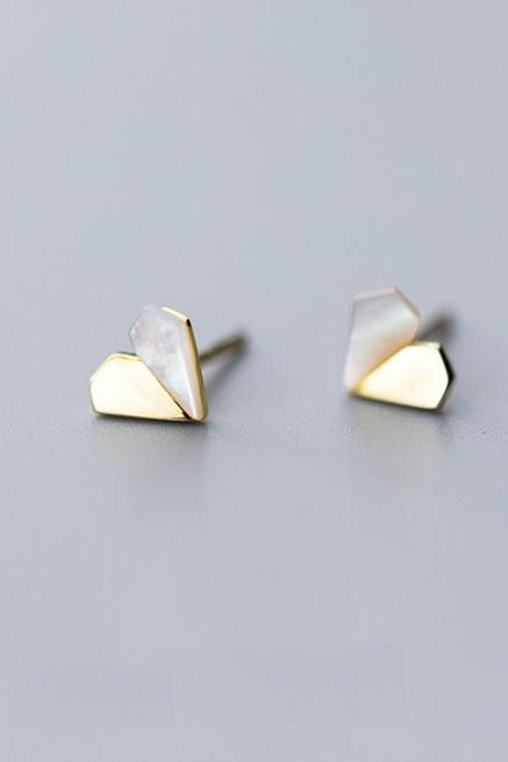 Sterling Silver Diamond Heart Ear Studs, Heart Post Earrings, Women Heart Earrings, Everyday Heart Earrings, Heart Ear Post