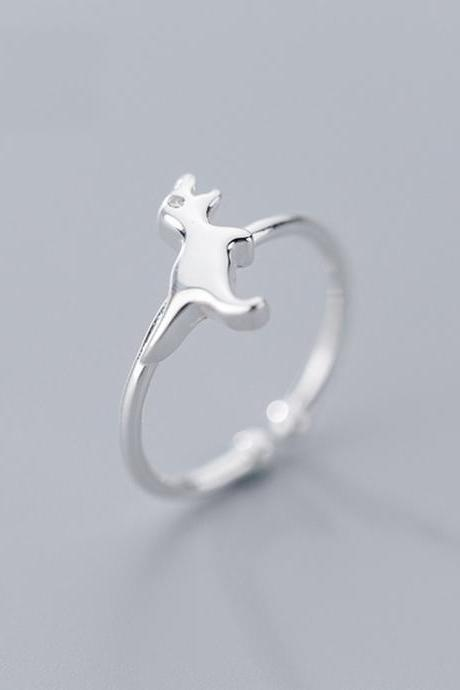 Silver Dainty Dinosaur Ring, Sterling Silver Adjustable Cat Ring, Minimalist Rings, Women Ring, Everyday Jewelry