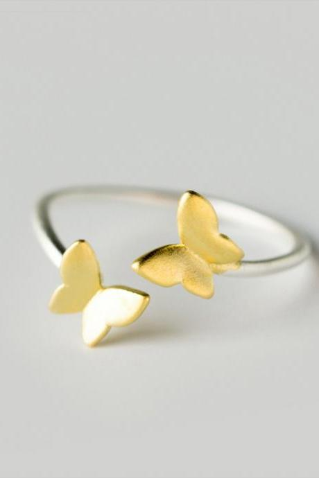 Double Gold Butterfly, Sterling Silver Adjustable Butterfly Ring, Minimalist Rings, Dainty Ring, Women Ring, Everyday Jewelry