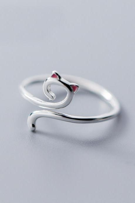 Cute Dainty Cat with Red Ear Ring, Sterling Silver Adjustable Cat Ring, Minimalist Rings, Women Ring, Everyday Jewelry