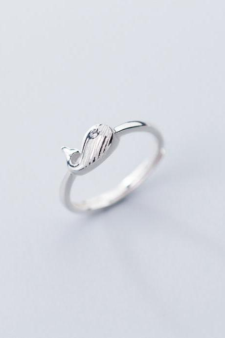 Glossy Whale Ring, Sterling Silver Adjustable Whale Ring, Minimalist Rings, Dainty Ring, Women Ring, Everyday Jewelry, Whale Ring