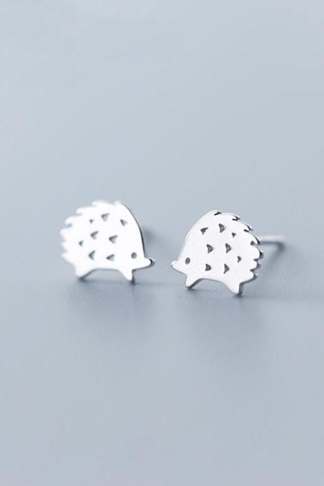 Sterling Silver Hedgehog Ear Studs, Animals Post Earrings, Women Hedgehog Earrings, Everyday Hedgehog Earrings, Hedgehog Ear Post