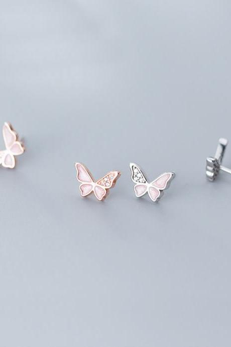 CZ Pave Butterfly Ear Studs, S925 Silver Butterfly Post Earrings, Women Animals Earrings, Everyday Earrings, Butterfly Ear Post