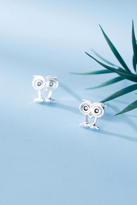 S925 Sterling Silver Owl Ear Studs, Owl Earrings, Owl Ear Studs, Owl Earring Posts, Owl Ear Stud
