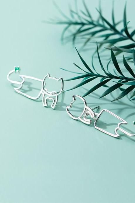 Sterling silver cat umbrella ear post, animals earrings stud, cat umbrella earring post, cat umbrella ear stud, umbrella earrings